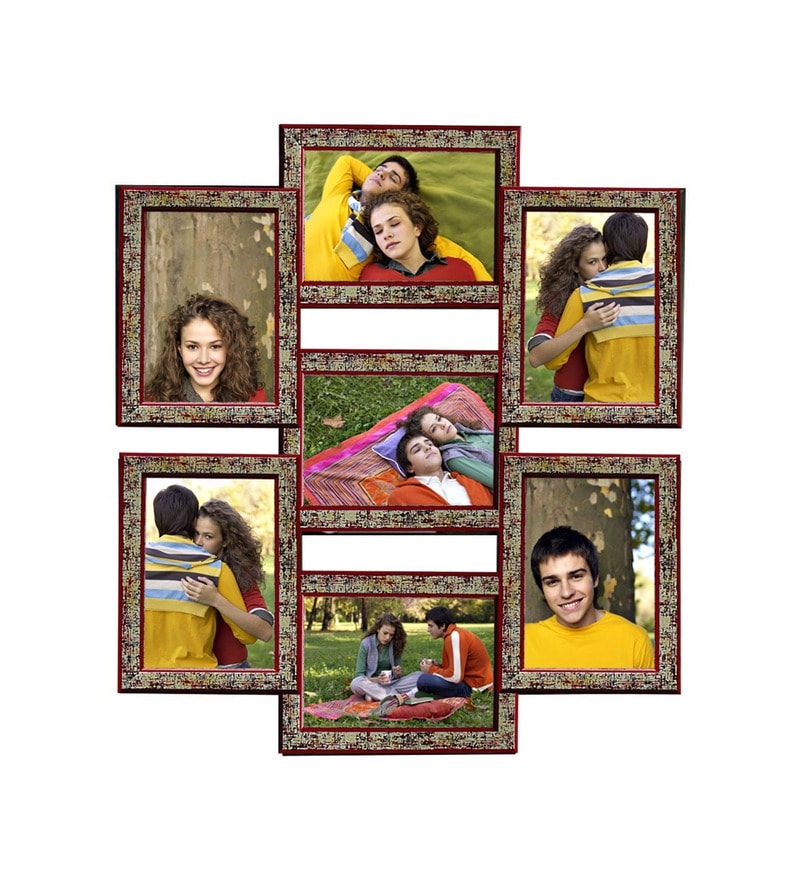 912a3929445 Multicolour Synthetic Wood Red 5x7 Inch Collage Photo Frame by Snap Galaxy