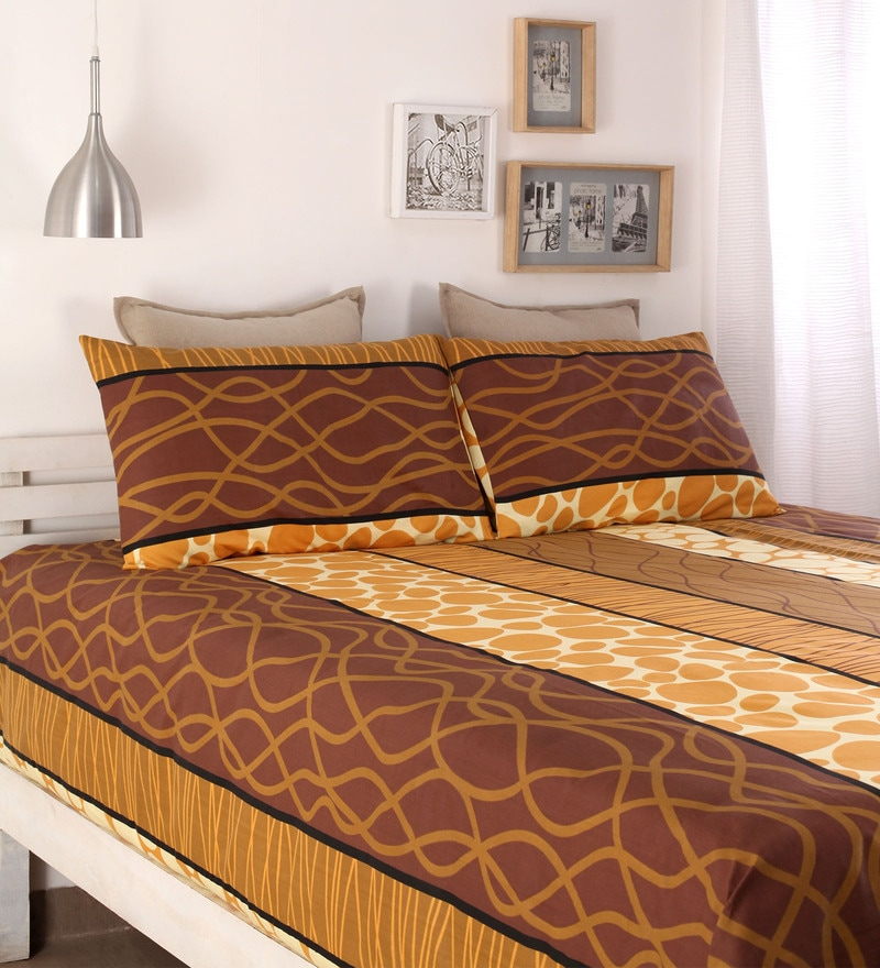 Brown Cotton Queen Size Bed Sheet - Set of 3 by Snuggles