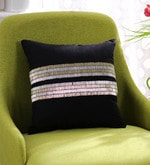 Solaj Black Cotton 12 x 12 Inch Embroidery Cushion Cover