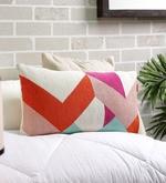 Multicolour Cotton 12 x 22 Inch Embroidered Cushion Cover