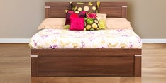 Solitaire King Size Bed in Acacia Dark Matt Finish