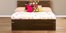 Solitaire Queen Size Bed with Box Storage in Acacia Dark Matt Finish