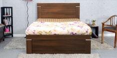 Solitaire Single Bed with Box Storage in Acacia Dark Matt Finish