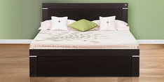 Solitaire W Queen Size Bed with Box Storage in Wenge Matt Finish