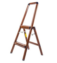 Solo Wooden Finish Aluminium 2 Steps 3.3 Ft Light Weight Ladder
