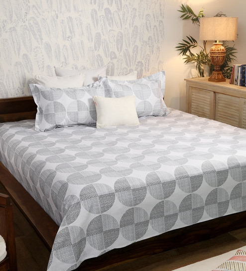 Geometric Pattern 200TC Cotton Queen Size Bed Sheet With 2 Pillow Covers By  Solaj