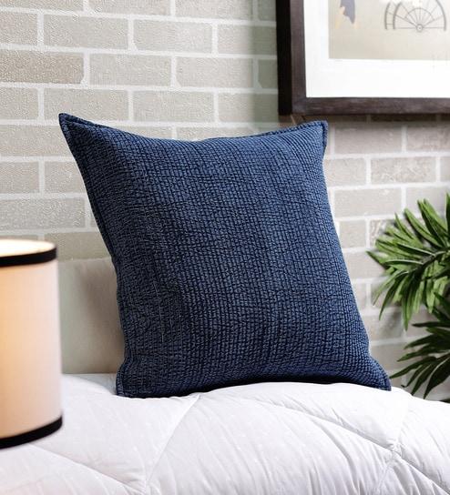 Buy Blue Cotton 20 X 20 Inch Denim Cushion Cover By Solaj Online