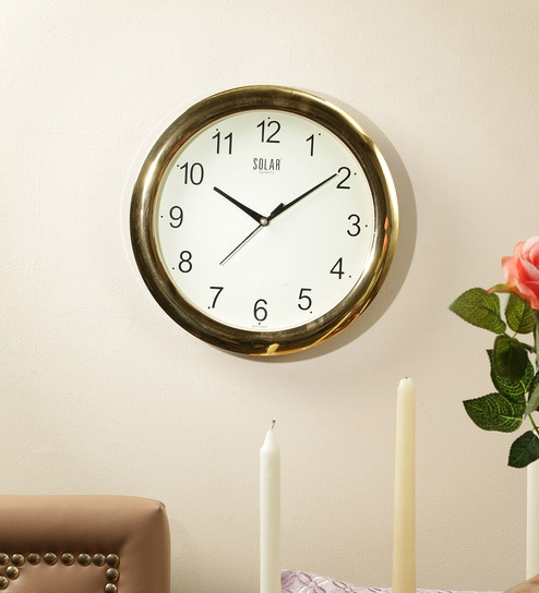 Upto 60% Off On Wall Clocks By Pepperfry | Solar Gold Plastic 11 Inch Round Wall Clock @ Rs.279
