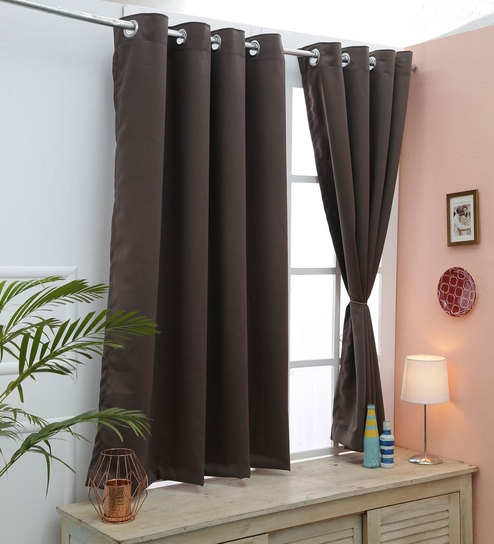 Solid Polyester 5 Feet Blackout Window Curtain Set Of 2 By American Elm