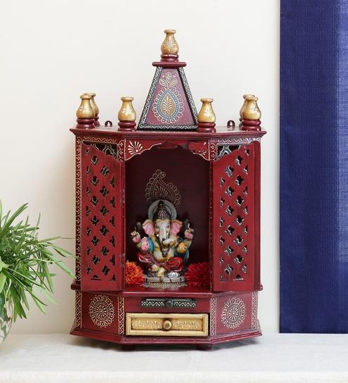 Buy Solid Wood Hand Painted Pooja Mandir In Multicolour Designs