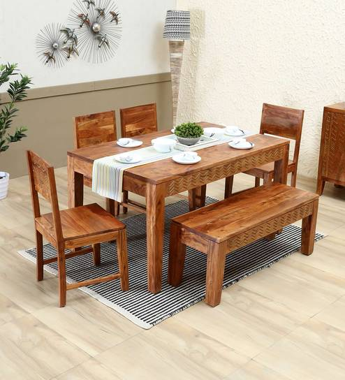 Pleasant Goldline Solid Wood Six Seater Dining Set With Bench By Woodsworth Lamtechconsult Wood Chair Design Ideas Lamtechconsultcom