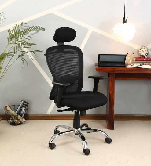 Buy Solo High Back Mesh Chair With Head Rest By Veeton Online