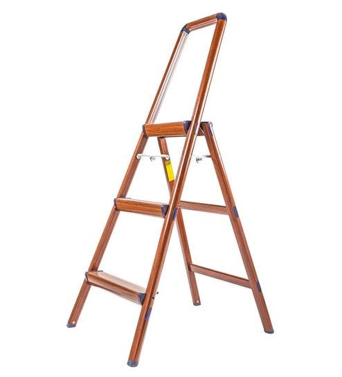 Solo Wooden Finish Aluminium 3 Steps 4 Ft Light Weight Ladder