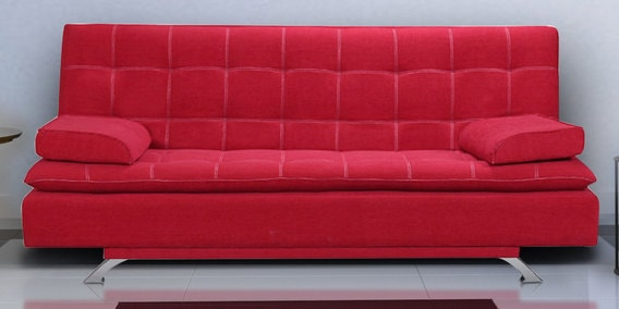 Sofa Cum Bed with 2 Pillows in Cherry Red Colour by Crystal Furnitech