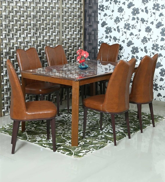 Buy Sophia 6 Seater Marble Top Dining Set With Tan Upholstery By Athena Crafts Online 6 Seater Dining Sets Dining Furniture Pepperfry Product