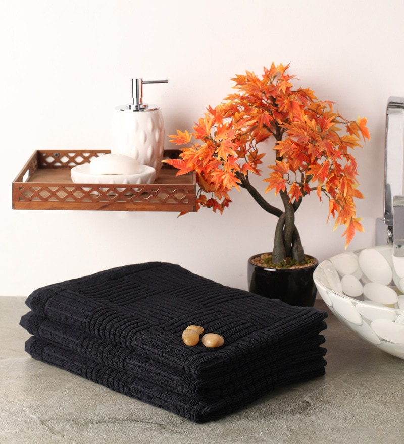 Black Cotton 20 x 39 Hand Towel - Set of 3 by Softweave