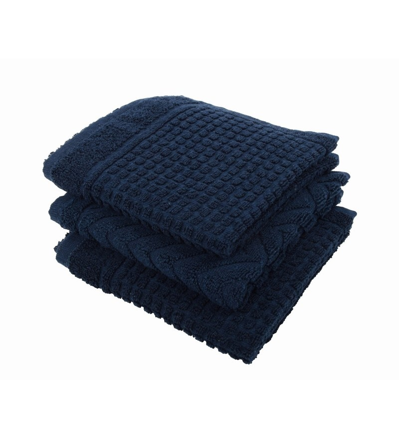 Blue 100% Cotton 16 X 24 Hand Towel - Set of 3 by Softweave