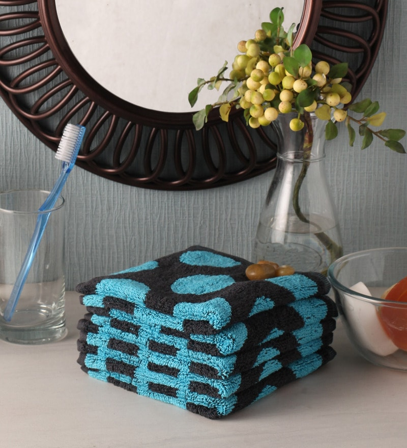 Blue Cotton 12 x 12 Face Towel - Set of 5 by Softweave