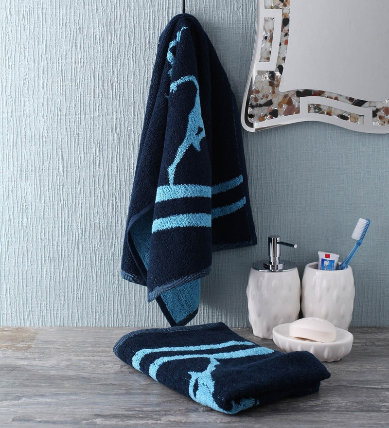 Blue Cotton 35 x 80 Go - for Men Face Towel by Softweave