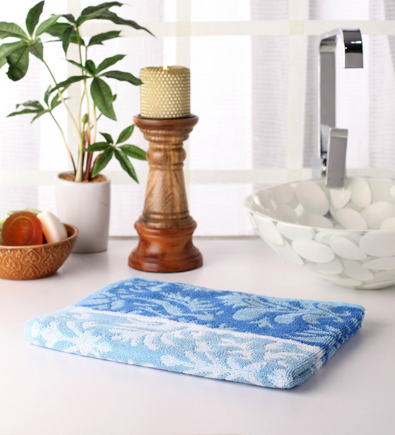 Blue Cotton 39 x 20 Hand Towel by Softweave