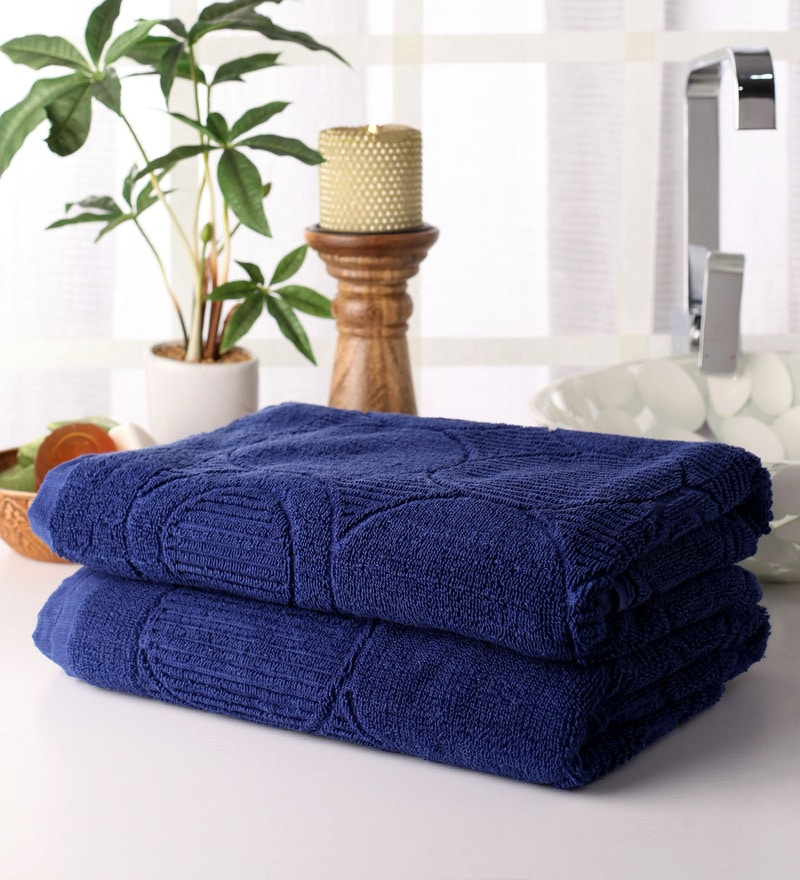 Blue Cotton 28 x 55 Bath Towel - Set of 2 by Softweave