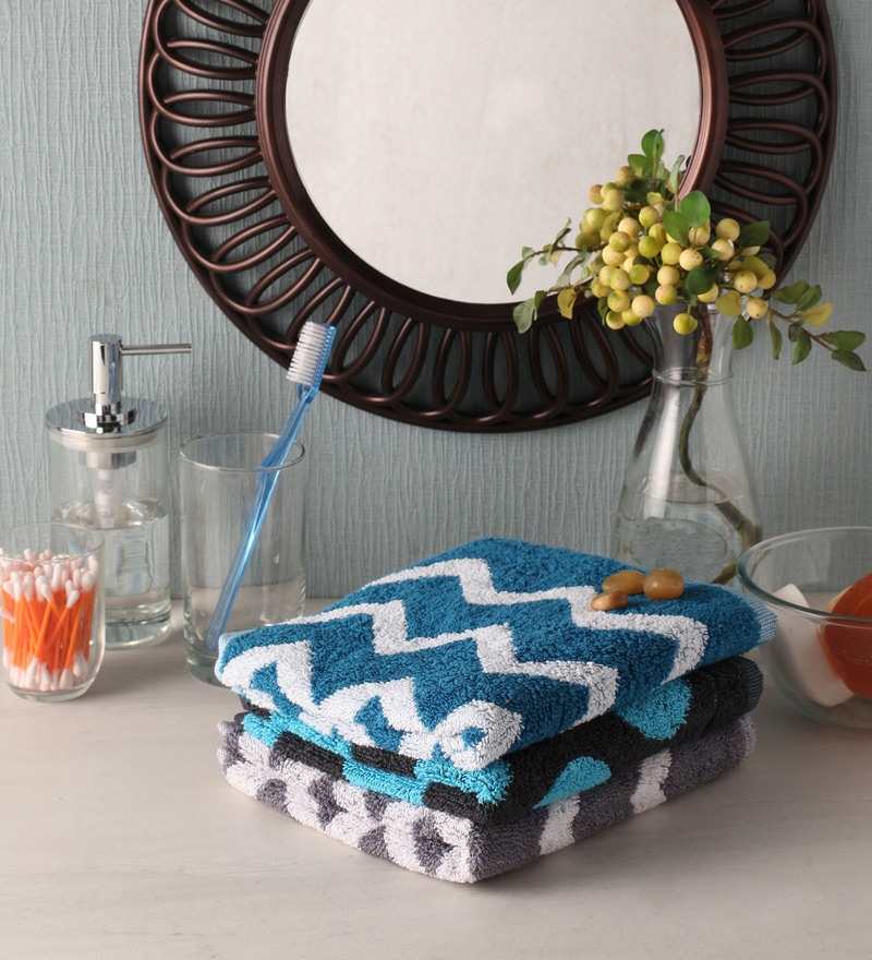 Grey and Blue Cotton 16 x 24 Hand Towel - Set of 3 by Softweave