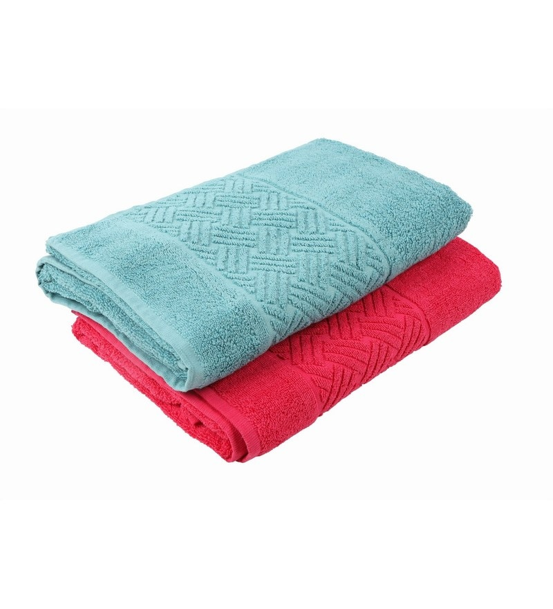 Multicolour 100% Cotton 30 X 60 Bath Towel - Set of 2 by Softweave