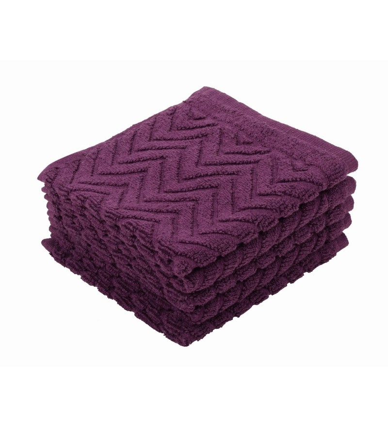 Purple 100% Cotton 12 X12 Face Towel - Set of 5 by Softweave