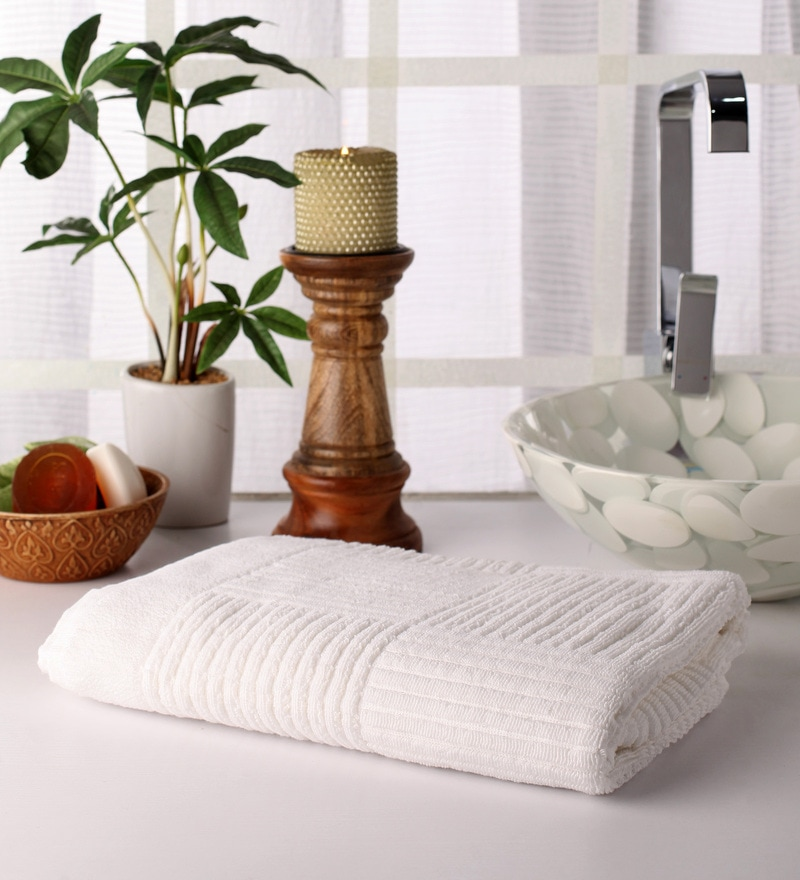 White Cotton 55 x 28 Bath Towel by Softweave
