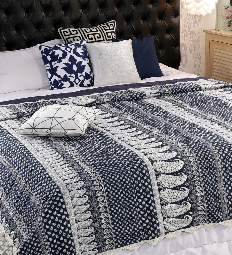 Blue 100% Cotton Double Size Quilt by Solaj
