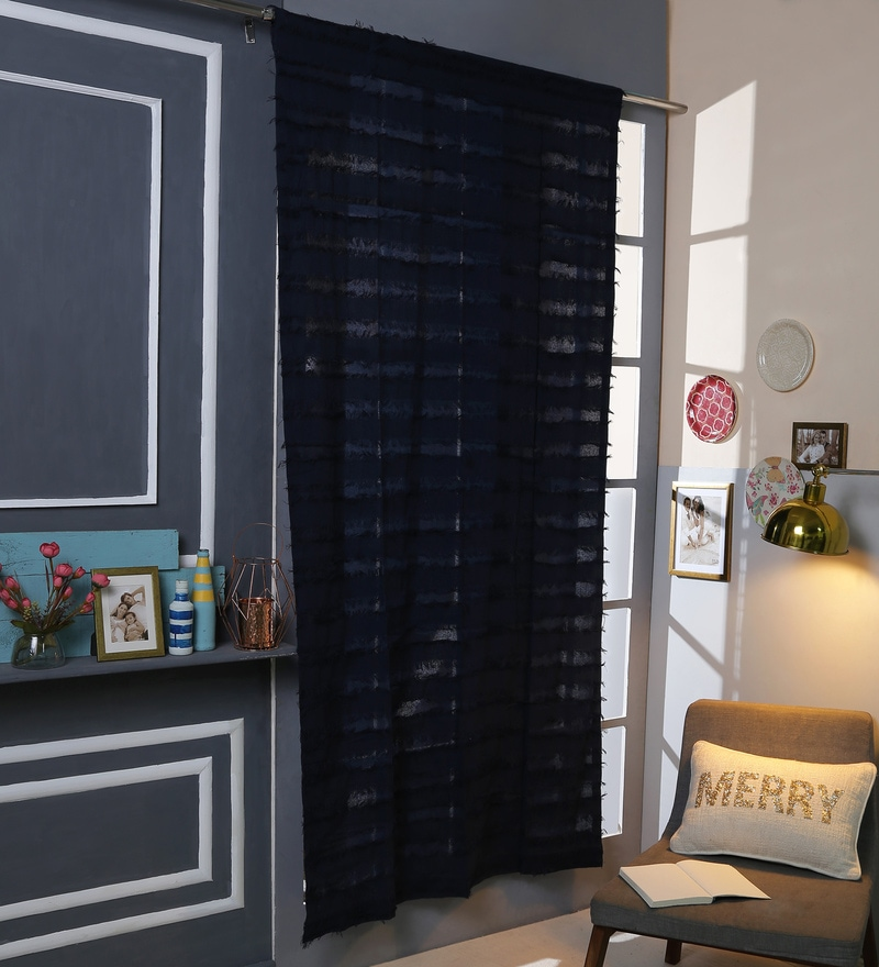 Blue Cotton 42 x 88 Inch Rod Pocket And Smock Band Door Curtain by Solaj