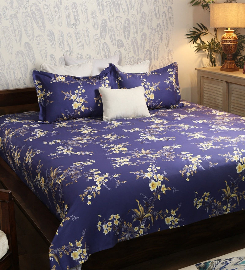 Blue Cotton Queen Size Bed Sheet - Set of 3 by Solaj