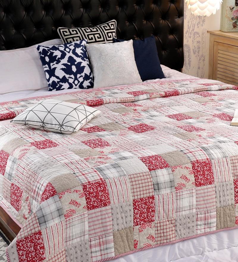 Multicolour 100% Cotton Double Size Quilt by Solaj