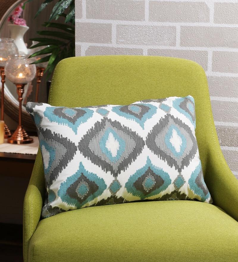 Multicolour Cotton 12 x 18 Inch Embroidered Cushion Cover by Solaj