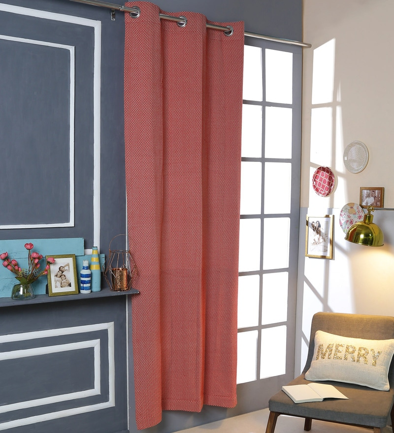 Red Cotton 42 x 88 Inch Eyelet Door Curtain by Solaj