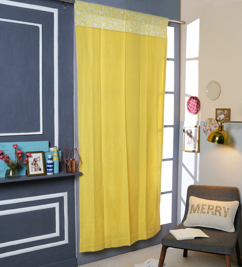 Yellow Cotton 42 x 88 Inch Rod Pocket And Smock Band Door Curtain by Solaj