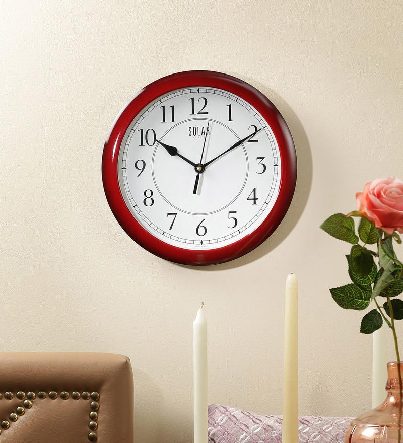 Maroon Plastic 11 Inch Round Wall Clock by Solar
