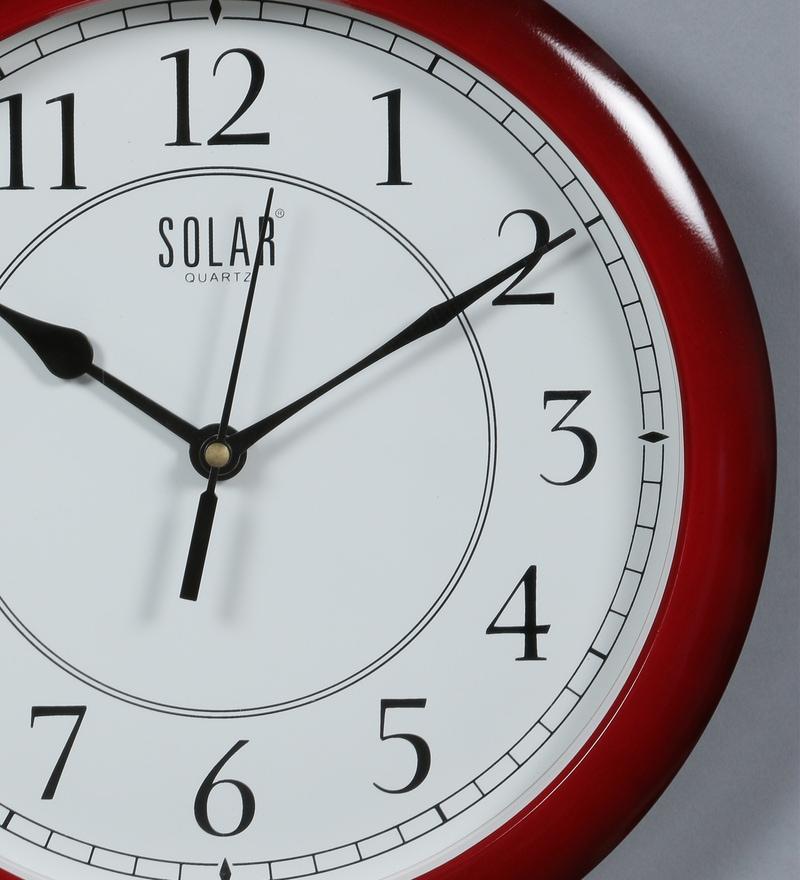 Maroon Plastic 11 Inch Wall Clock by Solar