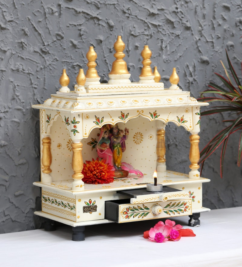 Buy Multicolour Sheesham Wood & MDF Pooja Mandir Without ...