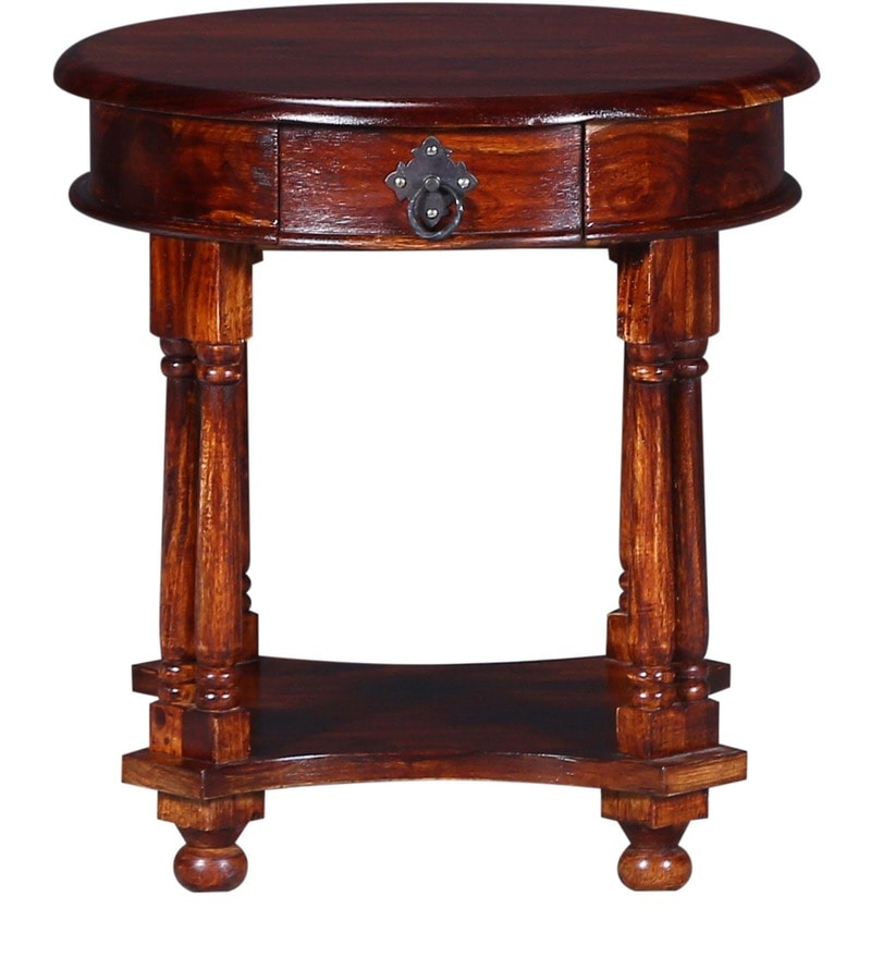 Buy Amherst End Table In Honey Oak Finish By Amberville Online   Colonial End  Tables   End Tables   Pepperfry