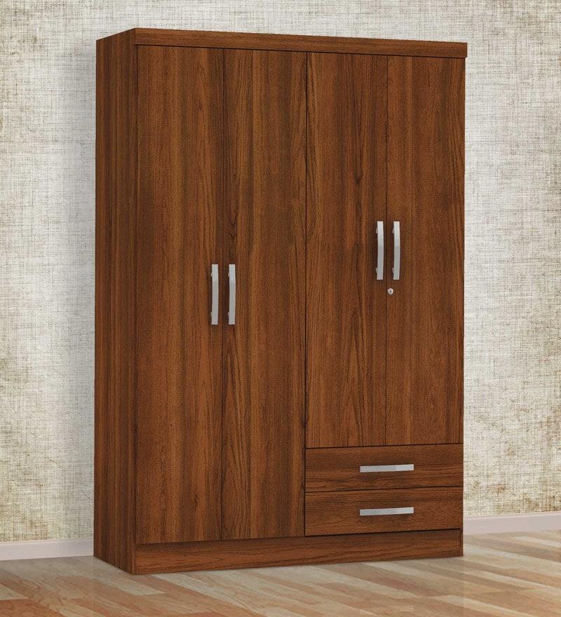 Sora Four Door Wardrobe in Teak Finish by Mintwud