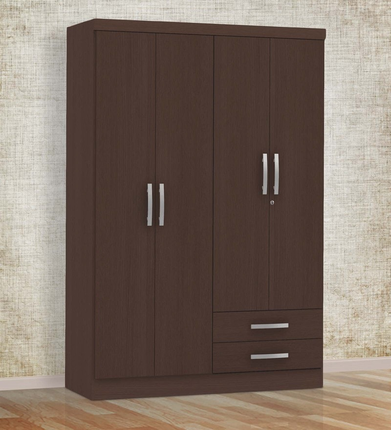 Buy marc four door wardrobe with drawer in oak finish by for Wardrobe door finishes