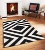 Sofiabrands Black Wool Striped & Checkered Tufted Carpet