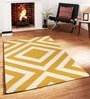 Yellow Wool Striped & Checkered Tufted Carpet by Sofiabrands