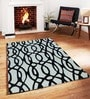 Sofiabrands Black Viscose Striped & Checkered Carpet