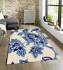 Sofiabrands Blue Wool 60 x 96 Inch Floral Carpet