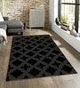 Sofiabrands Black Viscose Striped & Checkered Carpet