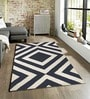 Sofiabrands Black & White Viscose Striped & Checkered Carpet