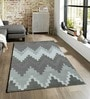 Sofiabrands Grey Viscose Striped & Checkered Carpet