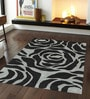 Sofiabrands Grey & Black Woolen 96 x 60 Inch Floral Carpet